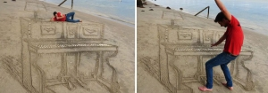 Un piano dessiné dans le sable